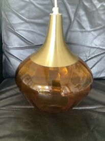 Amber glass pendant light shade 1970s in vgc