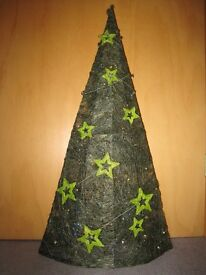 Christmas Tree. Woven on wire frame, decorated with stars and glitter. 75 cm High