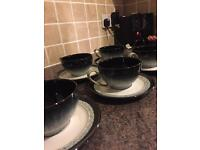 6 DENBY halo tea cups and saucers