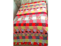 "Large King Size Vintage Retro Patchwork Bedspread Handmade No.3 (L-98"" x W-92"")"