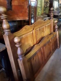 King Size Pine Bed With Antique Pine Finish