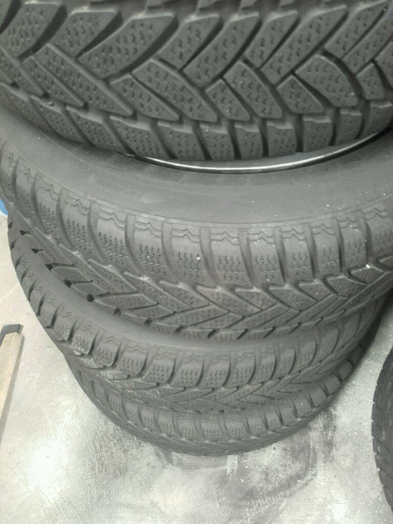 "16"" genuine bmw steel rims with winter tyres with trims in good condition"