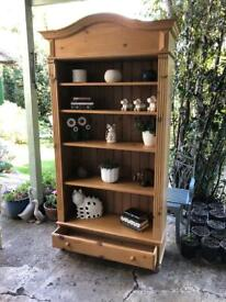Pine Bookcase, real wood 4 shelves and drawer