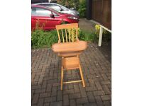 Handmade solid wooden high chair