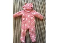 Pink bunny snow suit 9-12mths