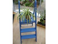 Vintage Wooden Step Ladder - painted blue. Ideal display stand for plants or ornaments