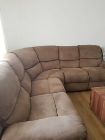 Corner settee for sale bought from Harvey's immaculate condition recliners on both ends