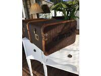 Large Vintage Steamer Travel Trunk Coffee Table Storage