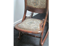 Antique vintage wood folding rocking chair floral tapestry carved rose back C1920's approx