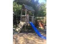 Updated - Tower climbing frame with slide, climb wall and extras