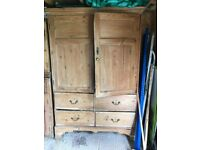 Large Victorian Antique Pine Housekeepers cupboard with shelves and drawers
