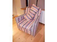 Ikea armchair with stripy covers and cushion