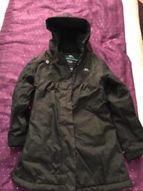 Girls black long Trepass winter jacket 5-6