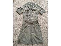 Mexx Khaki Combat Style Shirt Dress UK Size 8 Paypal accept