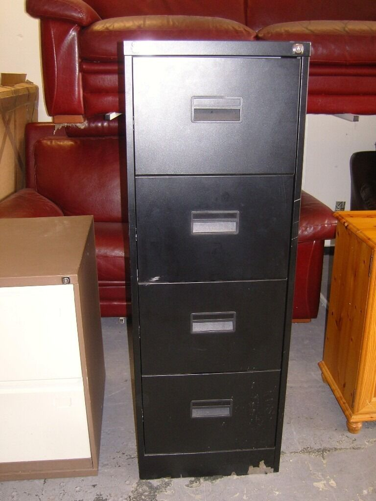 Black Metal Office World 4 Drawer Filing Cabinet With Key