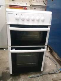 Beko electric fan assisted cooker with halogen hobs