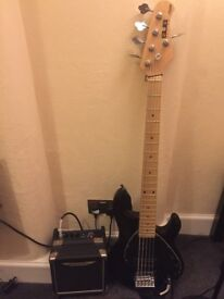 Music Man Sterling SUB Series Ray 5 Black + Ashdown Tourbus 10 combo + Gigbag + Fender 10m cable