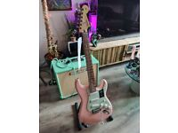 Beautiful Fender Stratocaster Shell Pink Mint Green scratch plate. Brand New w Tiny Chip.
