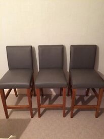 3 Grey Faux Leather Kitchen Bar Stools from Next. Very good condition