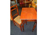 Small vintage wooden desk and chair / refurbished.