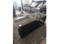 Black Glass TV Stand 120cm length