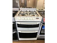 BELLING 60CM DUAL FUEL COOKER IN WHITE WITH LID