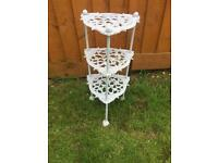 Vintage Cast Iron white 3 Tier Pan/Plant Stand
