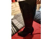 Size 7 black high heel leather boots