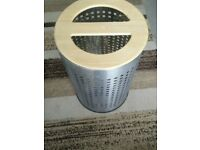 Stainless Steel Laundry Bin with Pine Lid - £5
