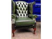 🎉🔥IMMACULATE SUPERIOR® GENUINE ANTIQUE LEATHER CHESTERFIELD VINTAGE ANTIQUE wingback Queen Anne