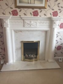Complete fire surround and electric fire with marble inset and hearth