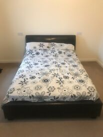 Faux leather double bed with silent night mattress