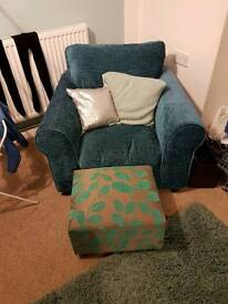 Comfy teal chair and footstool