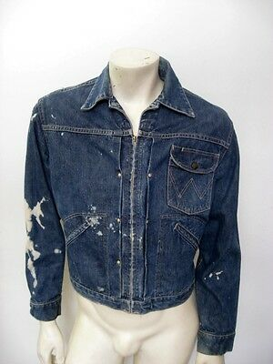 Vintage WRANGLER BLUE BELL One Pocket Denim Jean Jacket Size 38