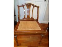 OLD VINTAGE CHAIR WITH NICE DETAIL WITH RATTON SEAT SOME SIGNS OF WEAR DUE TO AGE ONLY £25