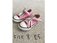 Girls pink converse size 5,7 and 8
