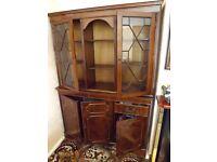 2 Piece Mahogany display cabinet