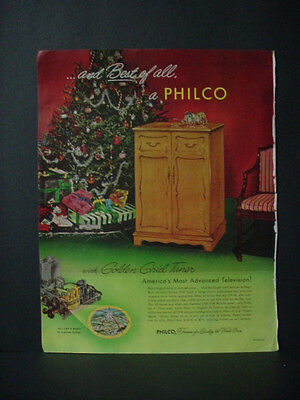 1952 Philco Television Most Advanced Christmas Tree Color Vintage Print Ad 10794 ()