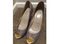 Louboutin silver peep toe heels size 5