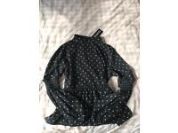 Boohoo black floaty blouse size 10