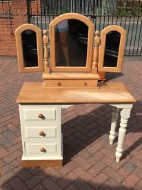 Pine dressing table and mirror