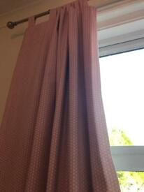 John Lewis Pink & white spot curtains inc blackout lining