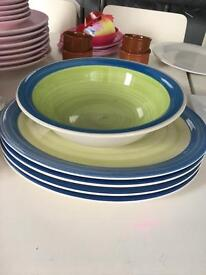 Large oval plates and serving bowl