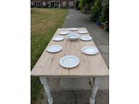 Large/long kitchen dining table. Rustic farmhouse/shabby chic. White distressed. Local delivery.