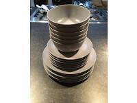 Grey Ikea Plates and Bowls Crockery Set