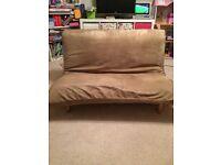 """Futon company"" futon in beige suede"