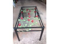 Glass Topped Wrought Iron Rose Coffee Table. Stunning!