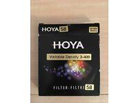 Hoya 58mm Variable Density Screw-in Filter Brand New Never Used