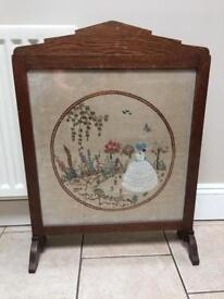 Elegant Antique Embroidered FireScreen