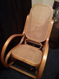 Rattan wooden rocking chair